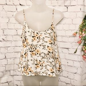AMERICAN EAGLE WHITE FLORAL OPEN BACK TANK TOP